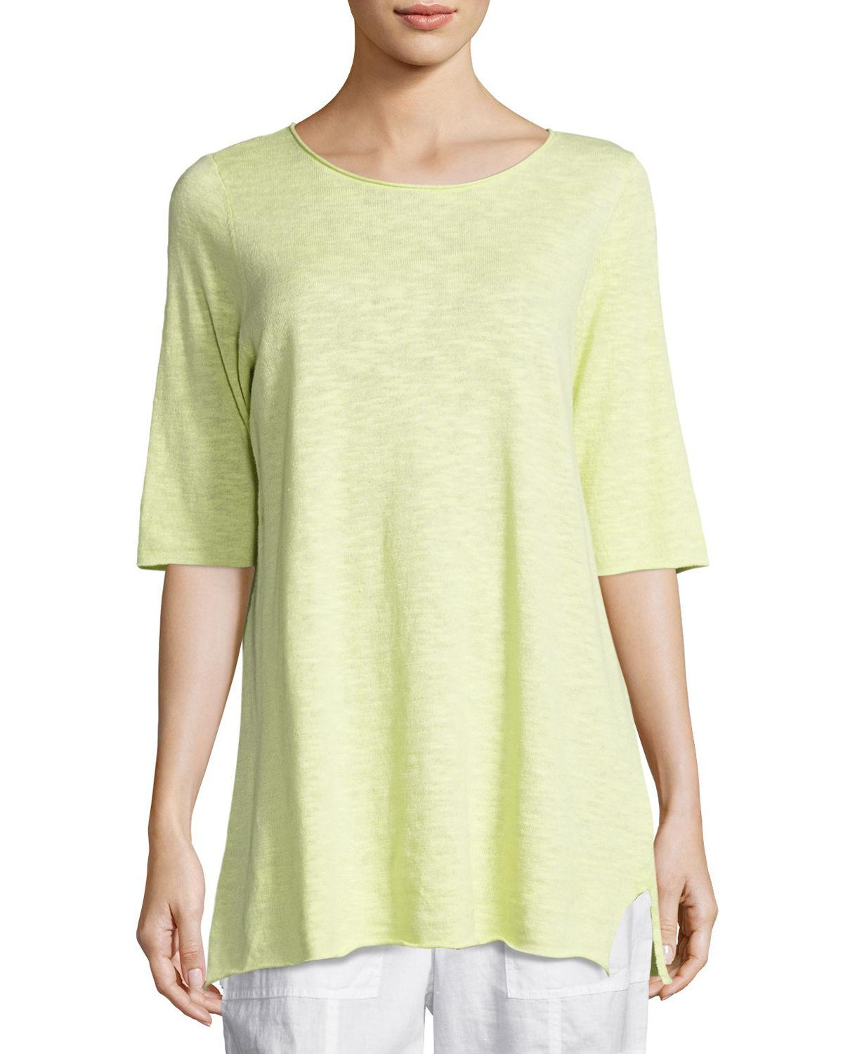 2338107e05 Lyst - Eileen Fisher Half-sleeve Linen-blend Tunic in Yellow - Save 50%