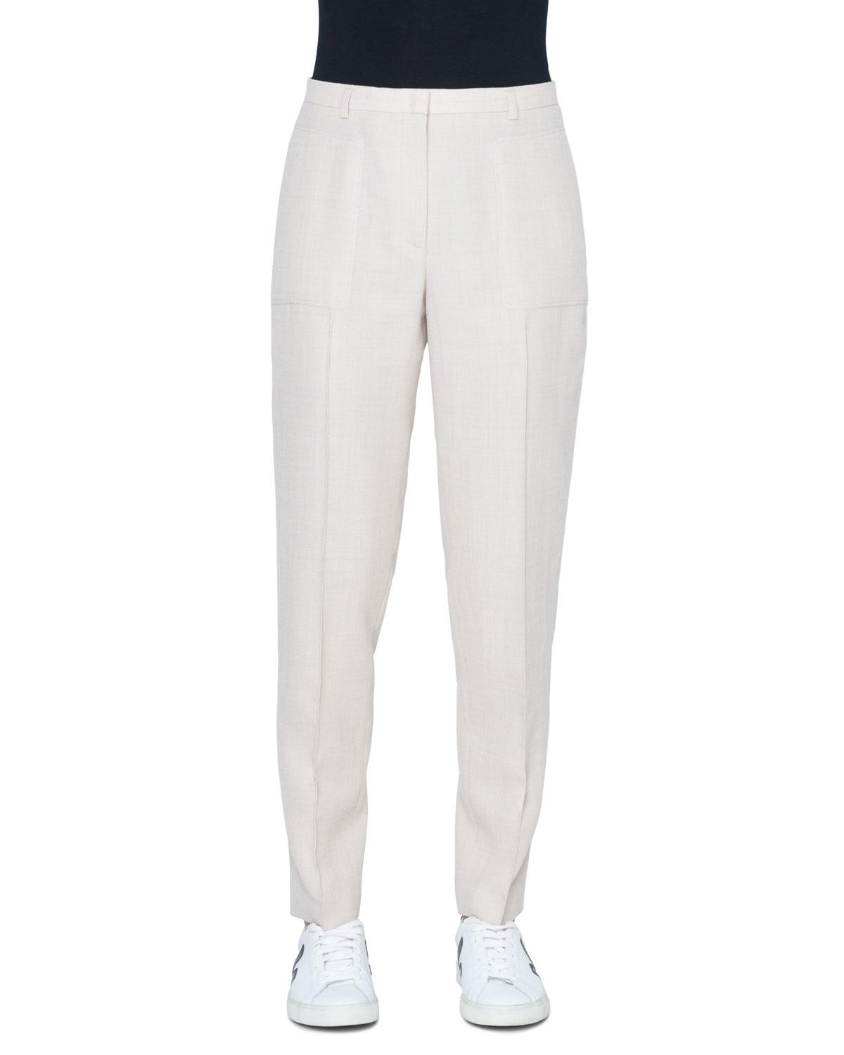 d2a0905d6018 Lyst - Akris Colin Mid-rise Straight-leg Wool-crepe Pants in Natural