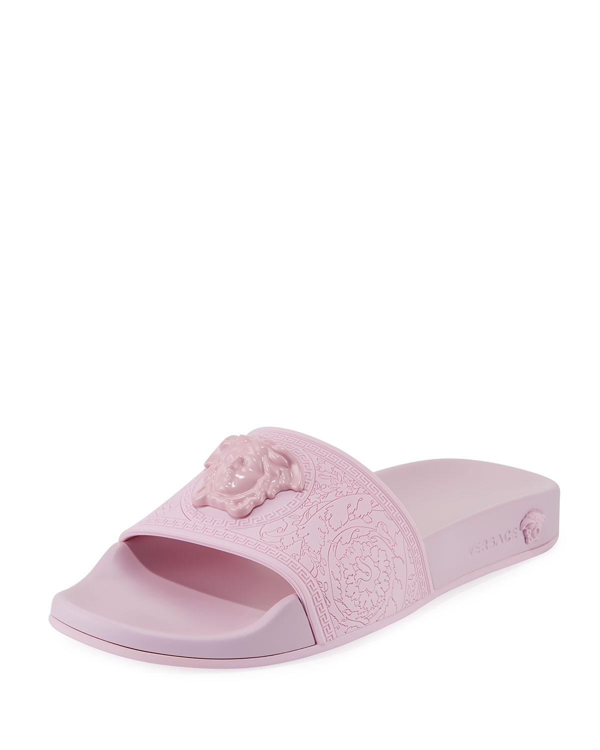 393787a74 Lyst - Versace Palazzo Medusa Rubber Pool Slide Sandal in Pink