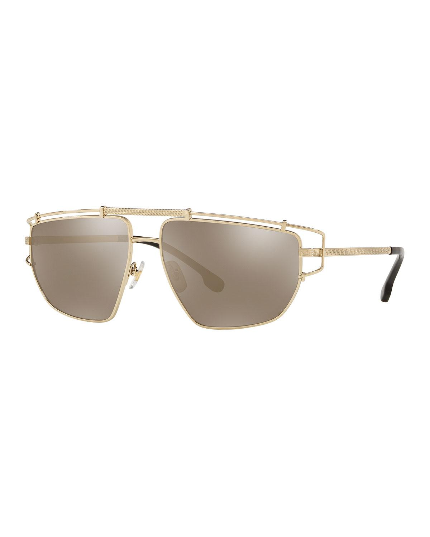 94653b586b3f Versace. Men s Caged-trim Metal Aviator Sunglasses.  270 From Neiman Marcus