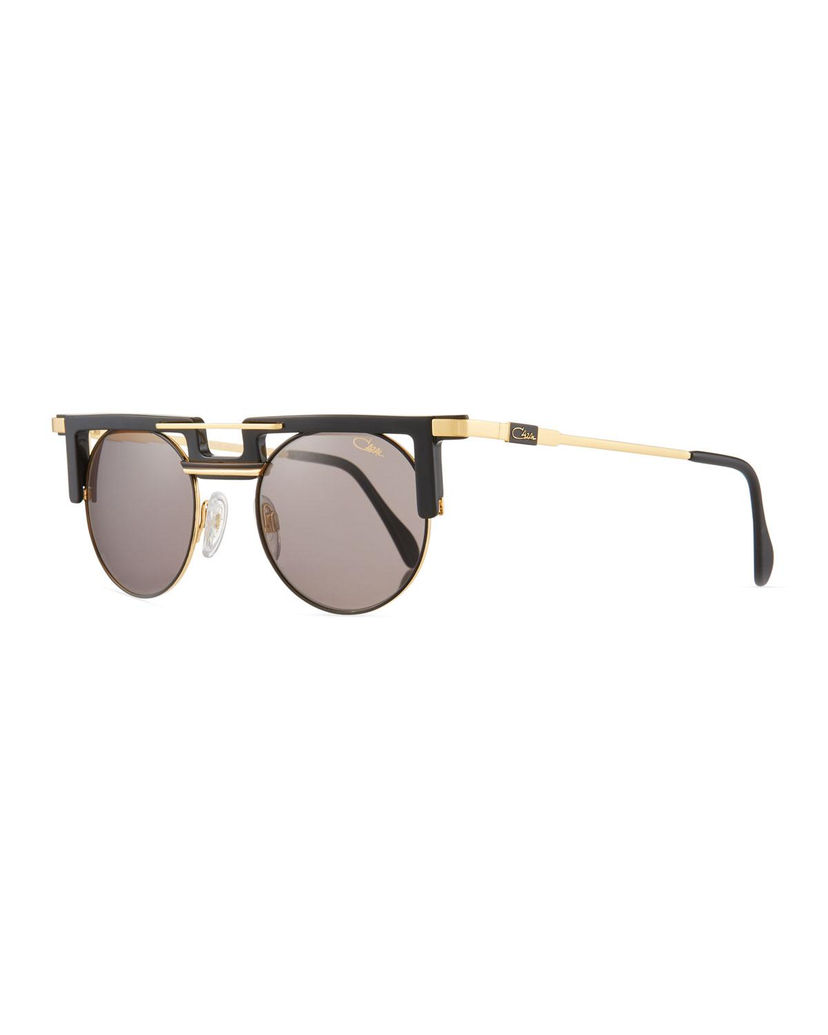 042a4a38fabe Lyst - Cazal Men s Round Acetate metal Sunglasses in Metallic for Men