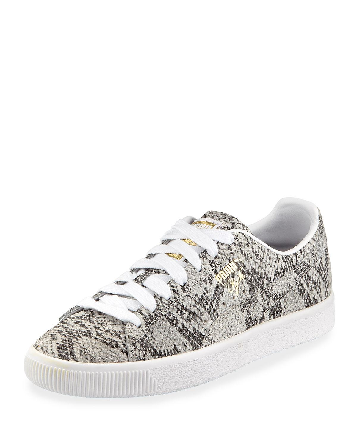 8b253c4e7d57 PUMA - White Clyde Snake-print Leather Lace-up Sneakers - Lyst. View  fullscreen