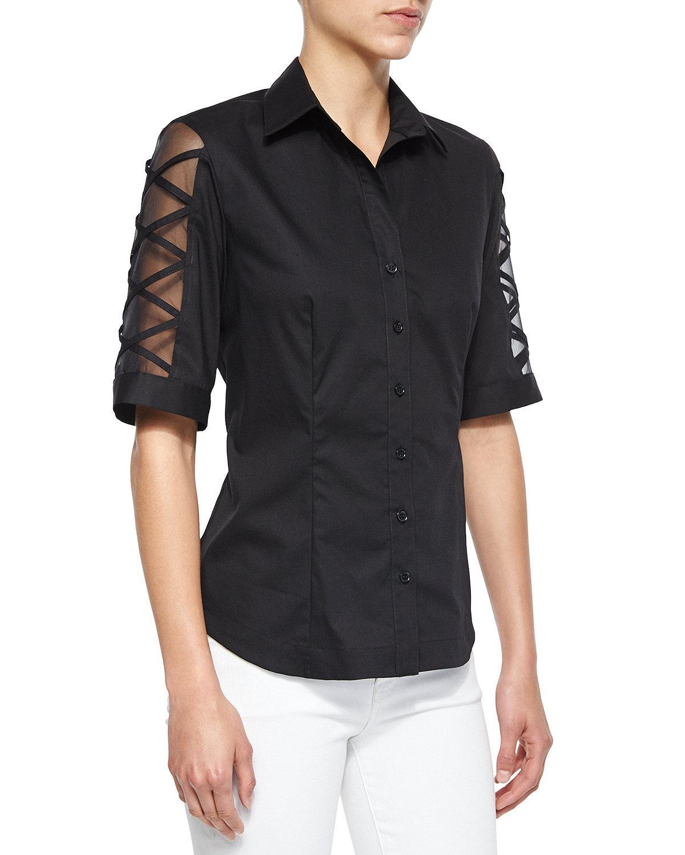 a62047d9d70f1 Lyst - Finley Plus Size Burnout-sleeve Button-front Blouse in Black ...