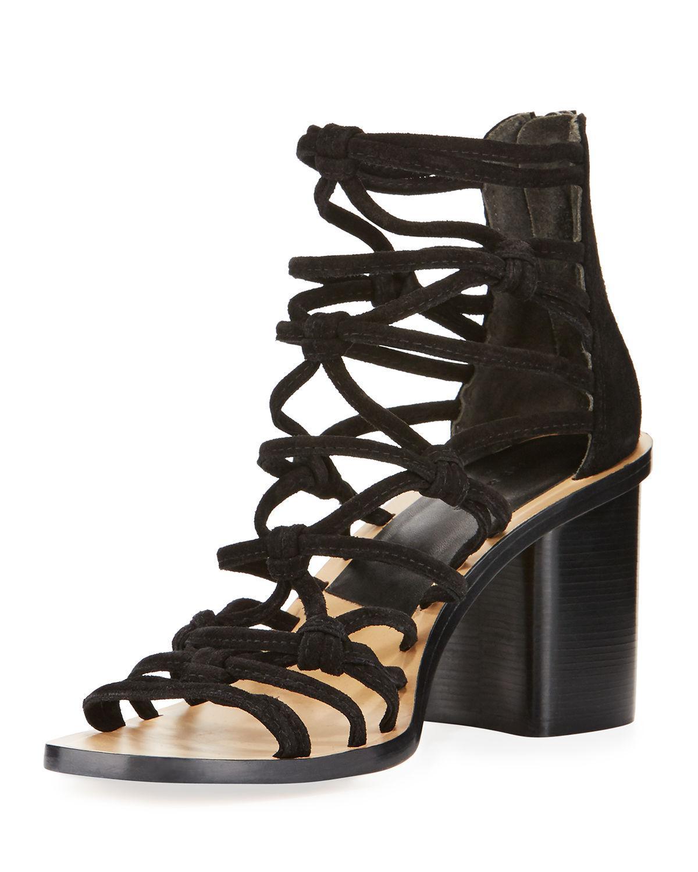 38bfaaa7472 Lyst - Rag   Bone Camille Caged Macrame Mid-heel Sandal in Black