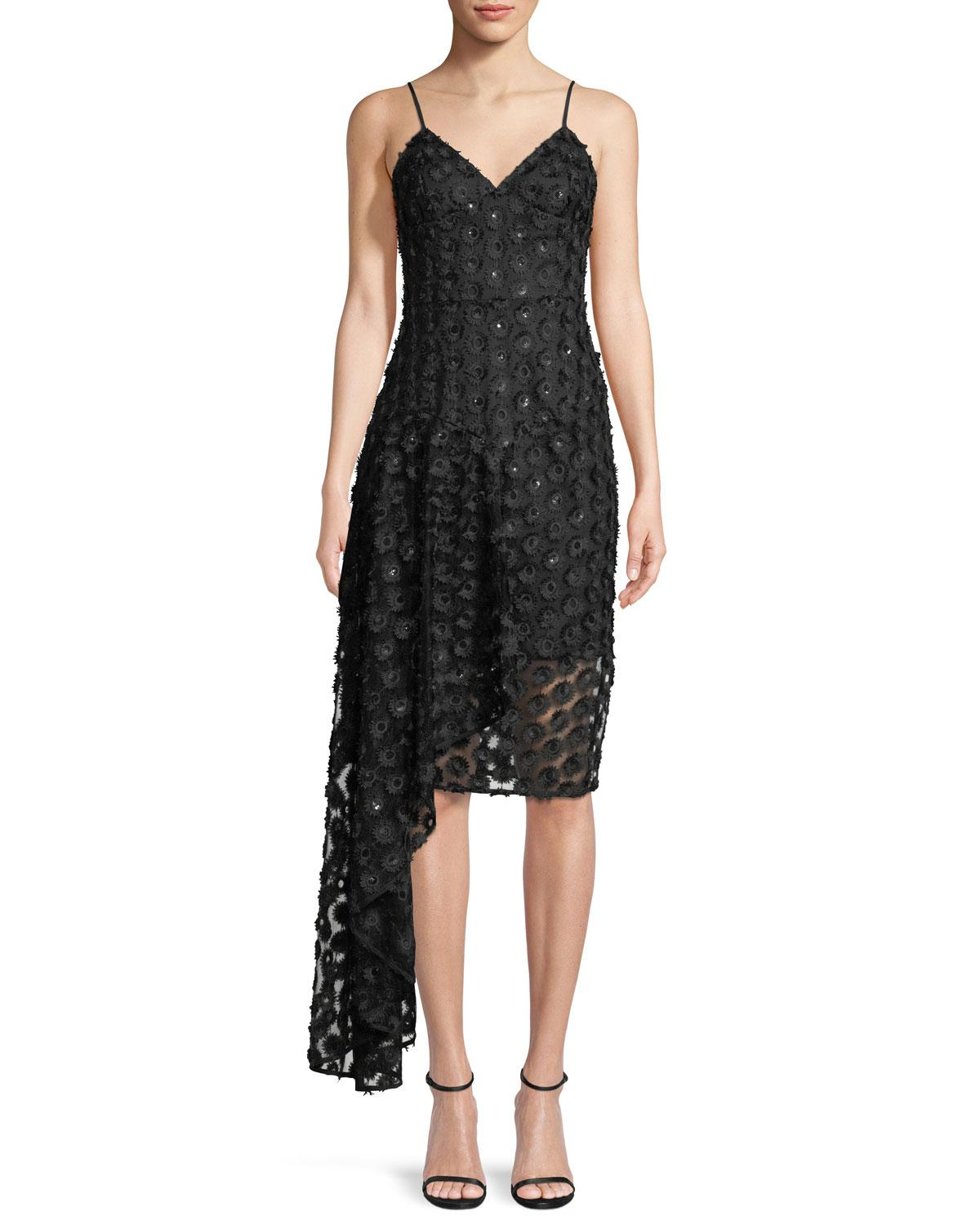 Lyst - Milly Antonia Stretch Daisy Lace Asymmetric Cocktail Dress in ...