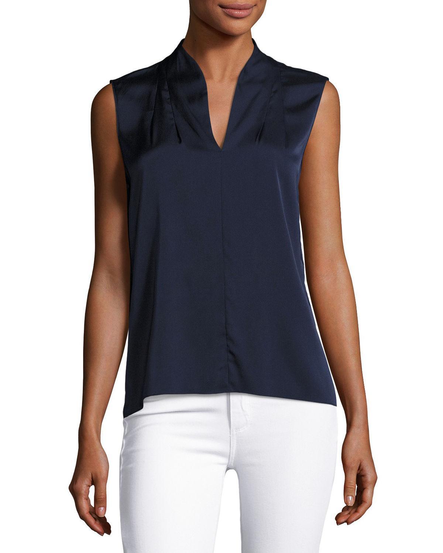 468116afc9afc5 Lyst - Elie Tahari Judith Sleeveless Silk Blouse in Blue