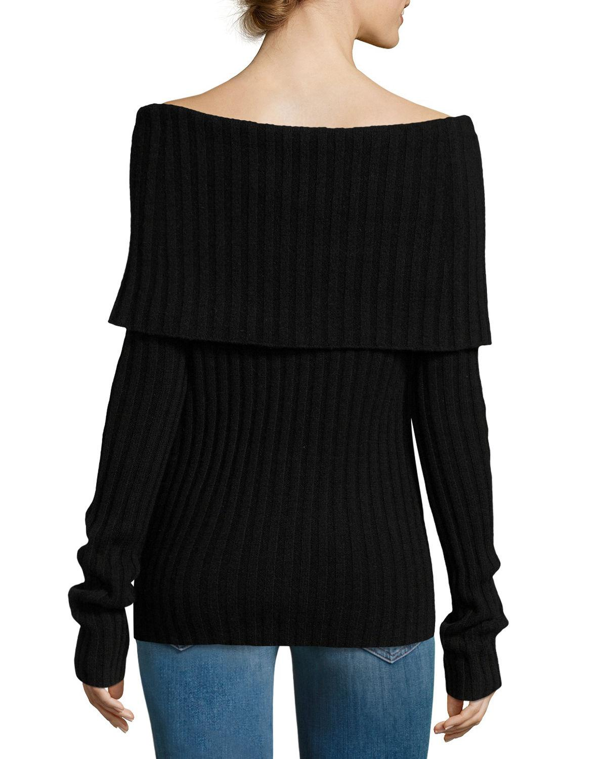 Theory Off-the-shoulder Fold-over Cashmere Sweater in Black | Lyst