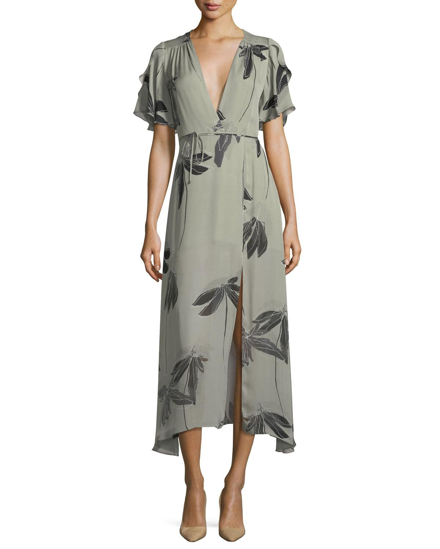 cea62d20363b Lyst - Halston Heritage Flutter-sleeve Printed Silk Faux-wrap Dress ...