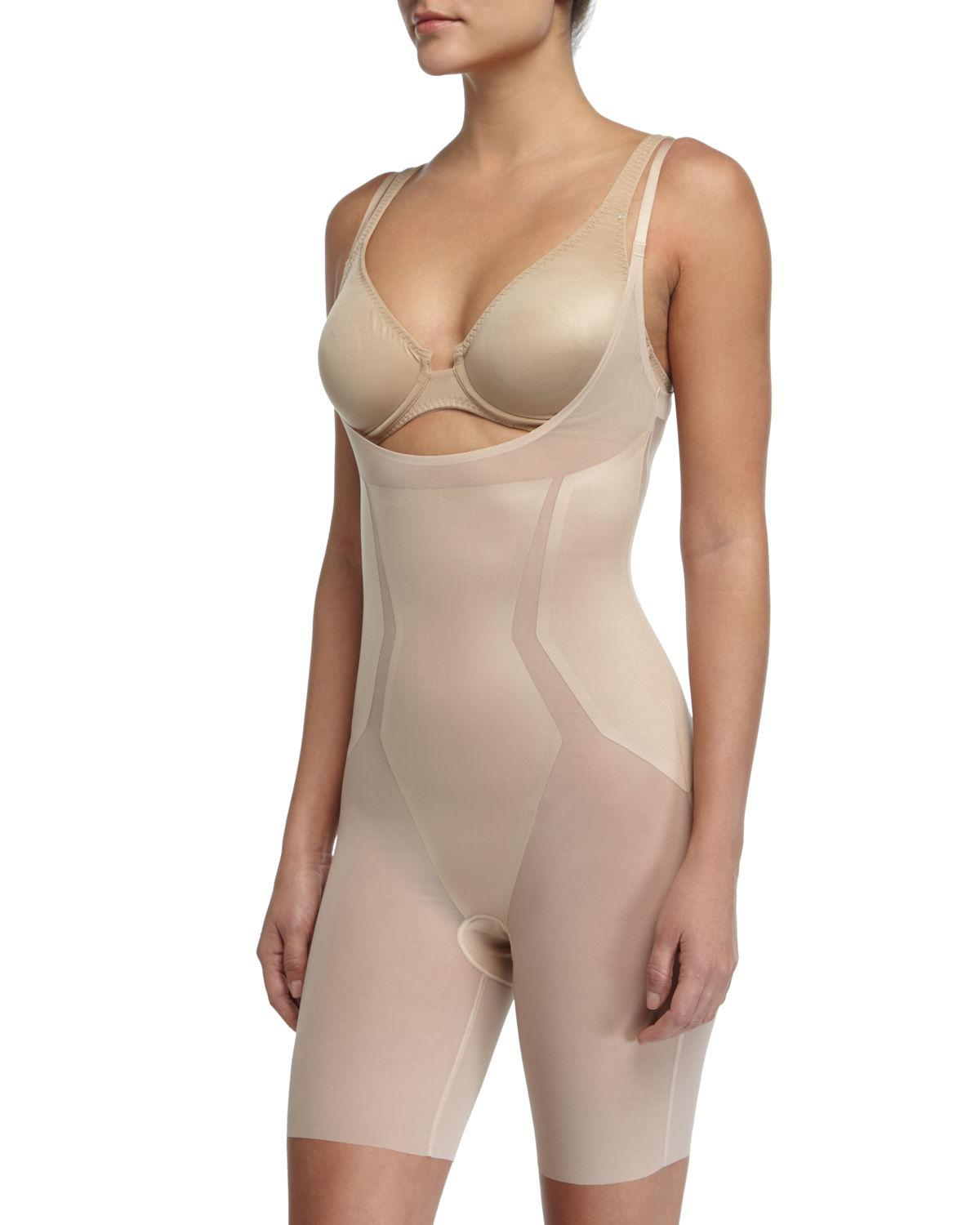 beac5a3498608 Lyst - Spanx Haute Contour Open-bust Bodysuit in Natural