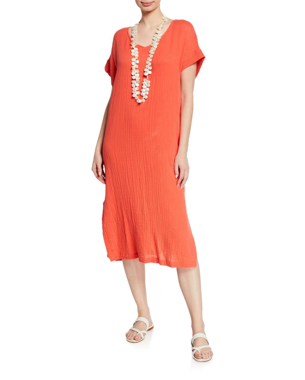 ec217421bf7 Lyst - Eileen Fisher V-neck Short-sleeve Lofty Organic Cotton Midi ...