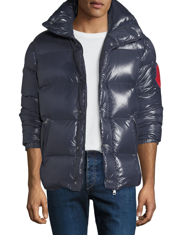 517f90af8 Lyst - Moncler Men s Montbeliard Shiny Puffer Jacket in Blue for Men