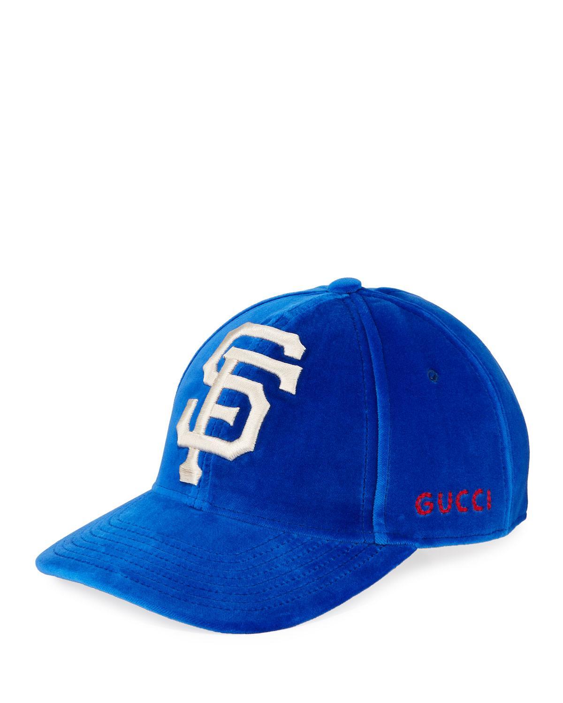 efd218e8dbe Lyst - Gucci San Francisco Giants Mlb Patch Velvet Baseball Hat in Blue