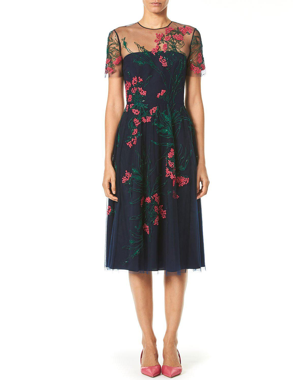 fd85a644c1 Lyst - Carolina Herrera Embroidered Knee-length Illusion Dress in Blue