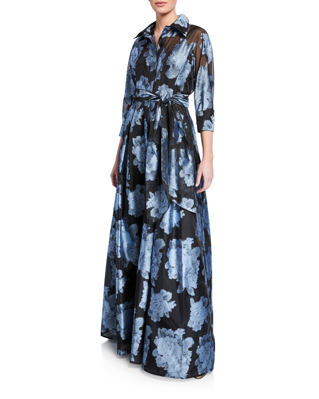 9bbbe832a210 Lyst - Teri Jon Abstract Floral Gazaar Shirtwaist Gown in Blue