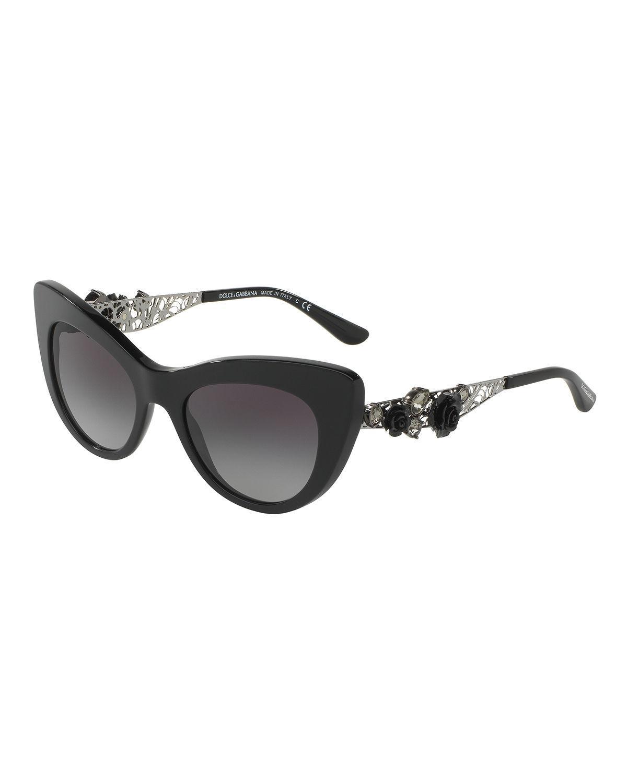 ea8b9df57ae Lyst - Dolce   Gabbana Flowers Lace Gradient Cat-eye Sunglasses in Black