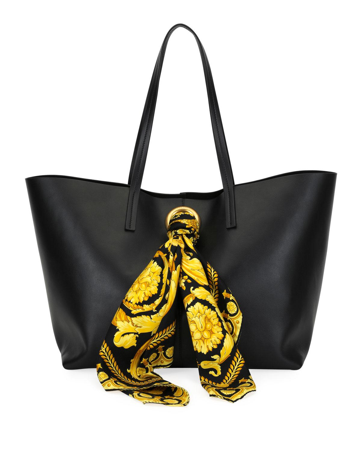 Lyst - Versace Tribute Baroque Scarf Leather Tote in Black - Save 20% 09861e020b9bd