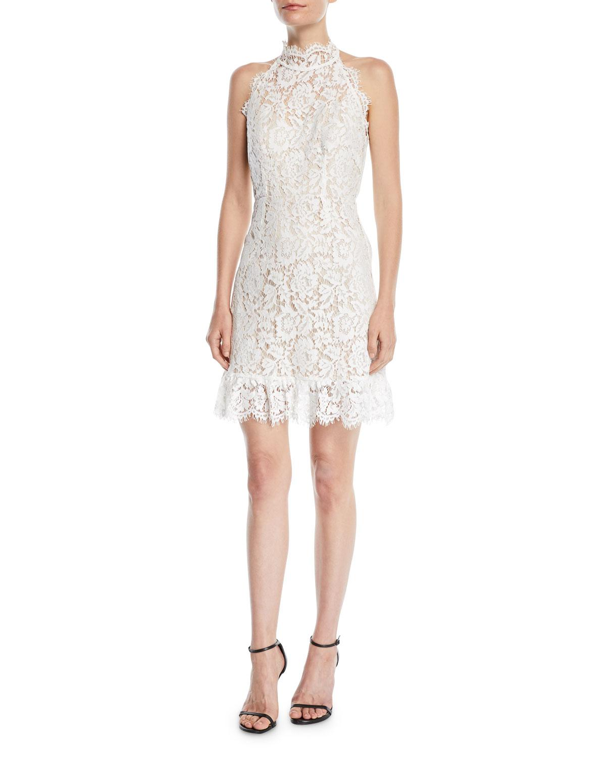 5b344e1d76147c Lyst - Aijek Halter Mini Dress In Lace in White