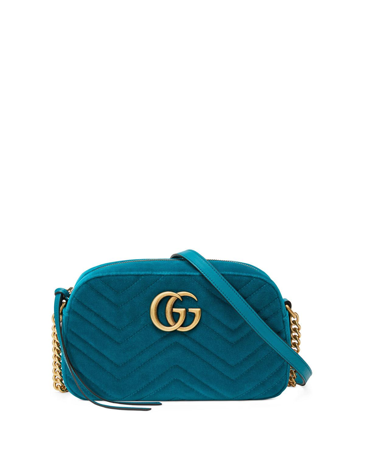 36556bbe92d8 Lyst - Gucci GG Marmont Small Shoulder Bag in Blue - Save 11%