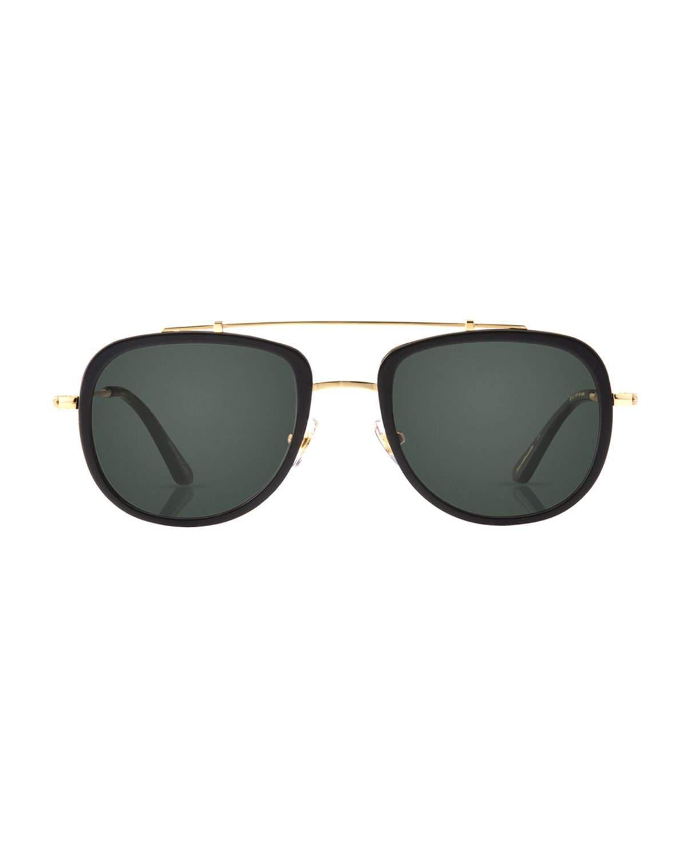 2574628ab53 Lyst - Krewe Breton 24k Gold-plated Aviator Sunglasses in Black