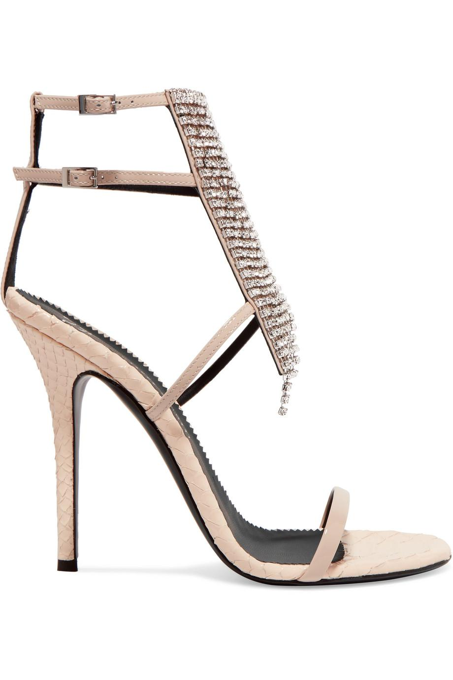 Alien Crystal-embellished Python-effect And Patent-leather Sandals - Beige Giuseppe Zanotti gC7MyDQY