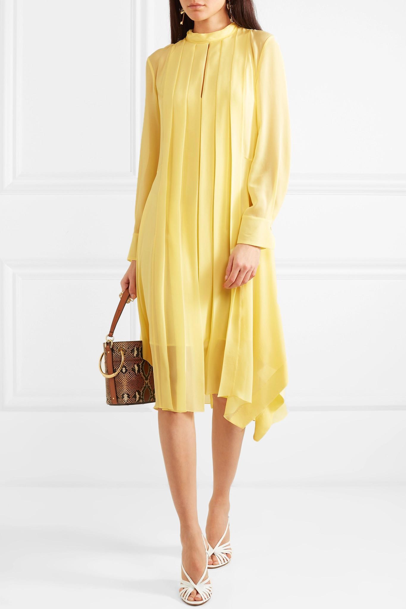 7a74cf6950 Chloé - Yellow Pleated Silk-chiffon Dress - Lyst. View fullscreen