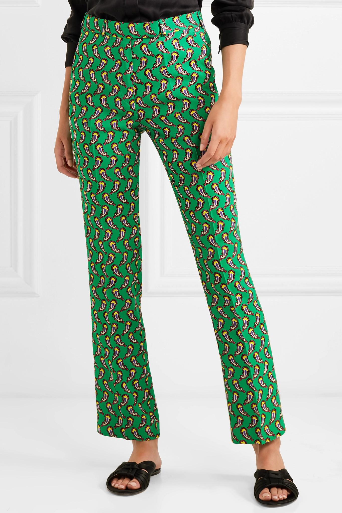 Lyst Vert Raccourci Coloris Slim En Etro Imprimé Pantalon Crêpe 5j3A4RL