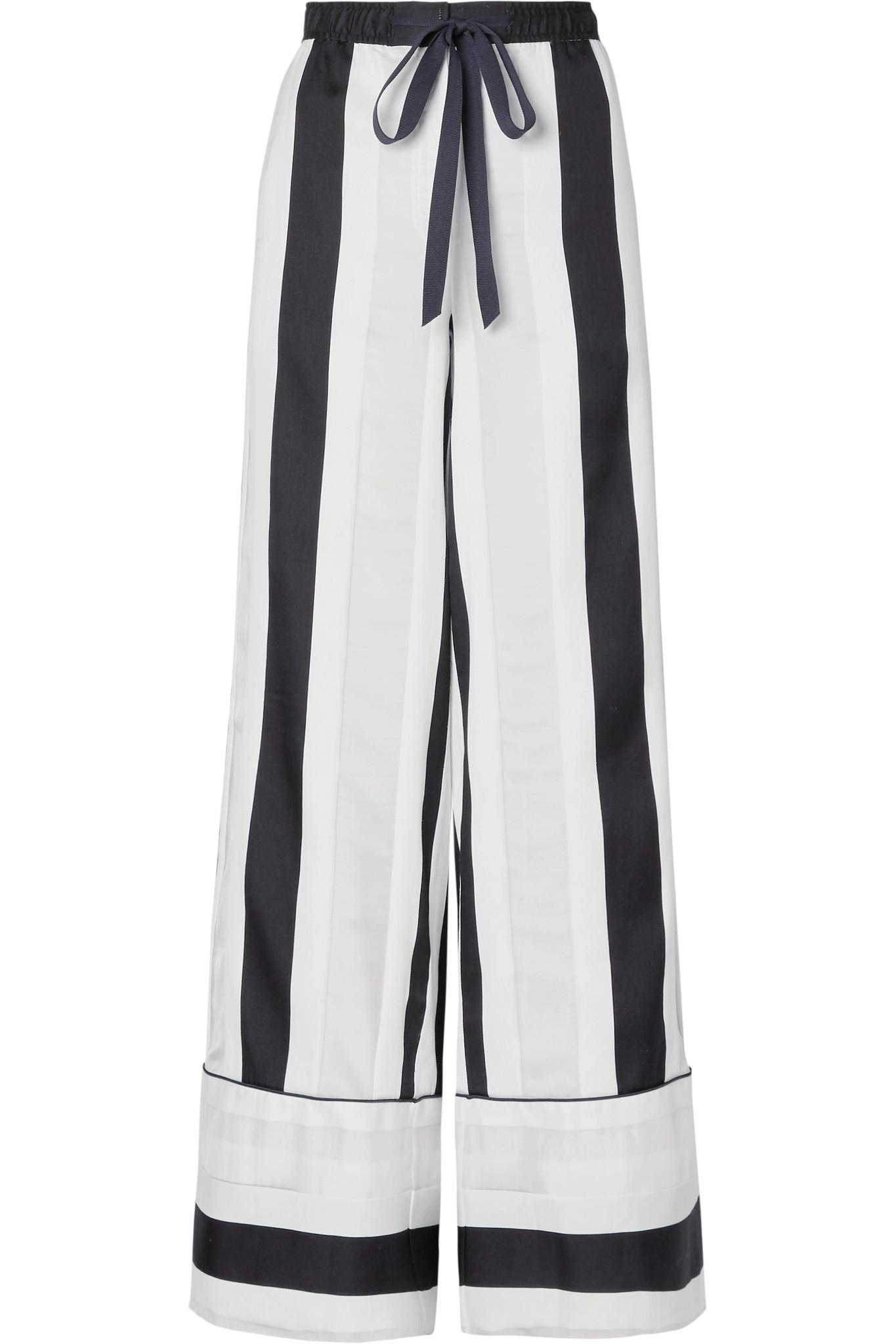 Striped Cotton And Silk-blend Jacquard Wide-leg Pants - White Adam Lippes mhagY7