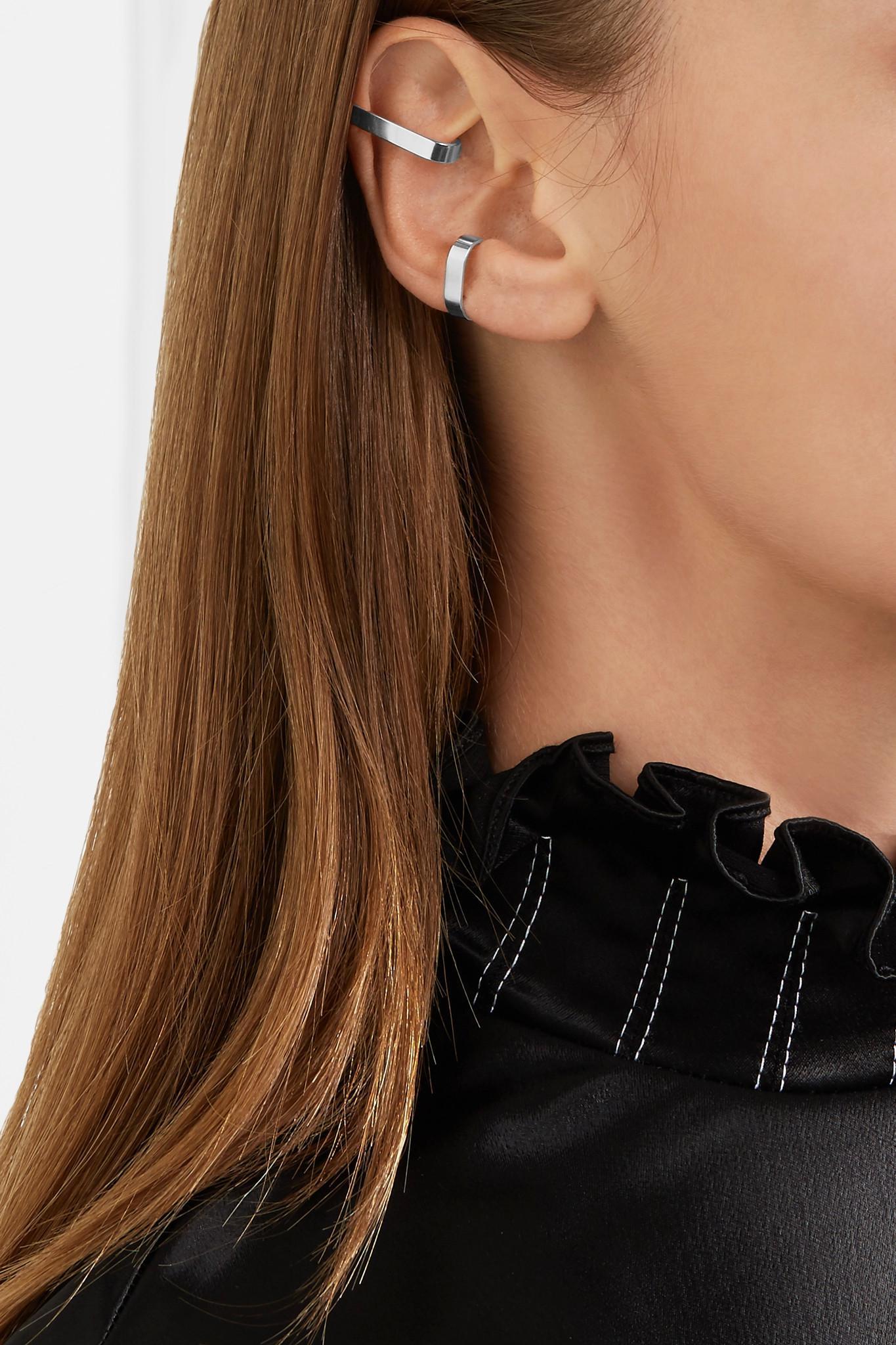 Saskia Diez X Stripe Set Of Two Silver Ear Cuffs H1nNH