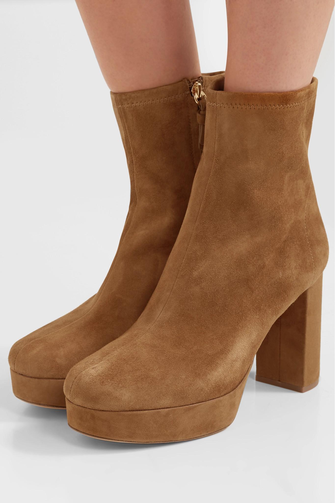 d022f2cc096c Diane von Furstenberg - Brown Yasmine Suede Platform Ankle Boots - Lyst.  View fullscreen
