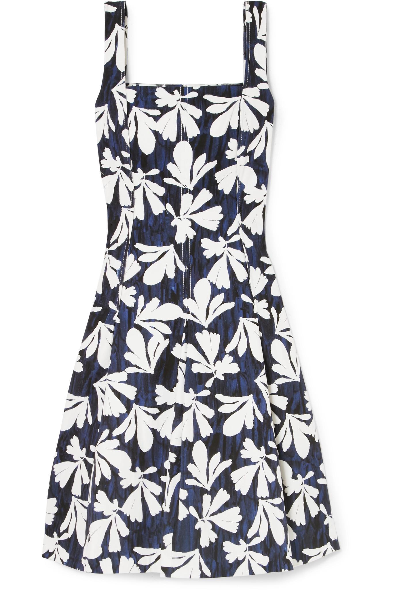Pleated Printed Stretch-cotton Dress - Navy Oscar De La Renta Red Pre Order Eastbay Buy Online Sale Online Store For Sale Footlocker i2BsDPP