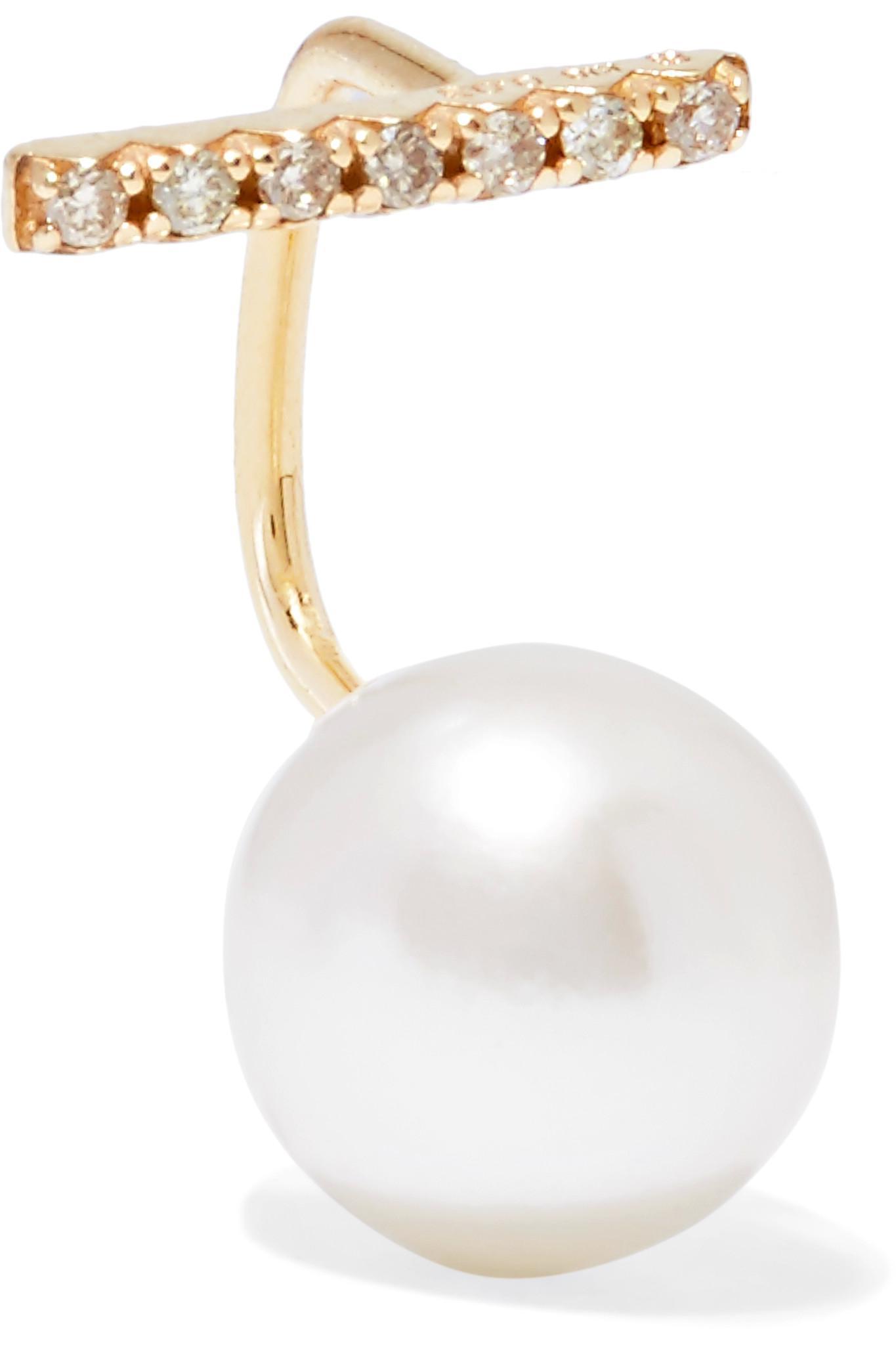 Hirotaka 10 karat Gold Pearl And Diamond Earring in Metallic Lyst