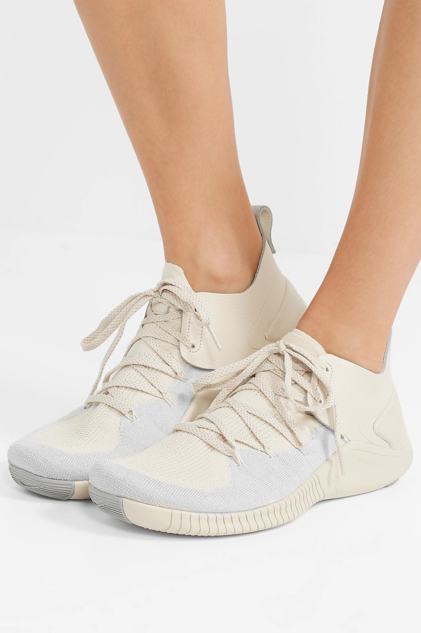 052b560ca576d Nike - Multicolor Free Tr 3 Champagne Crinkled Leather-trimmed Flyknit  Sneakers - Lyst. View fullscreen
