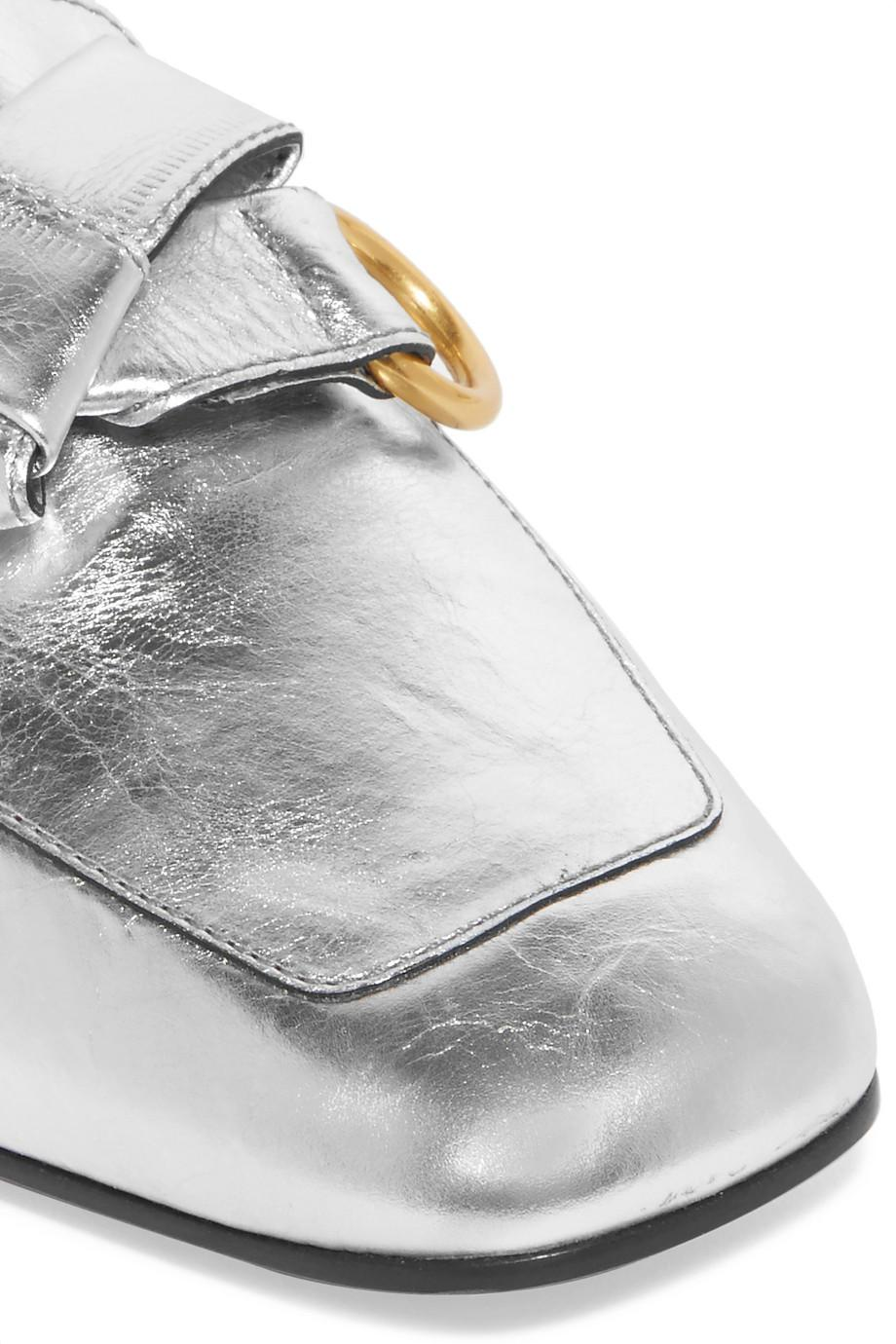 Quincey Collapsible-heel Metallic Leather Loafers - Silver Chlo MZ6HN