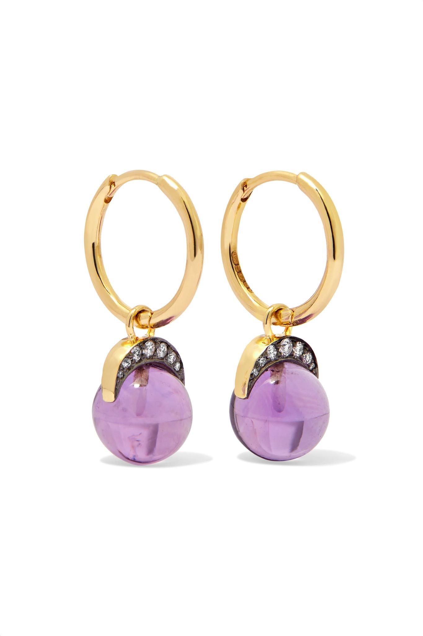 Noor Fares Mala 18-karat Gold Multi-stone Earrings 4JQRASDd1