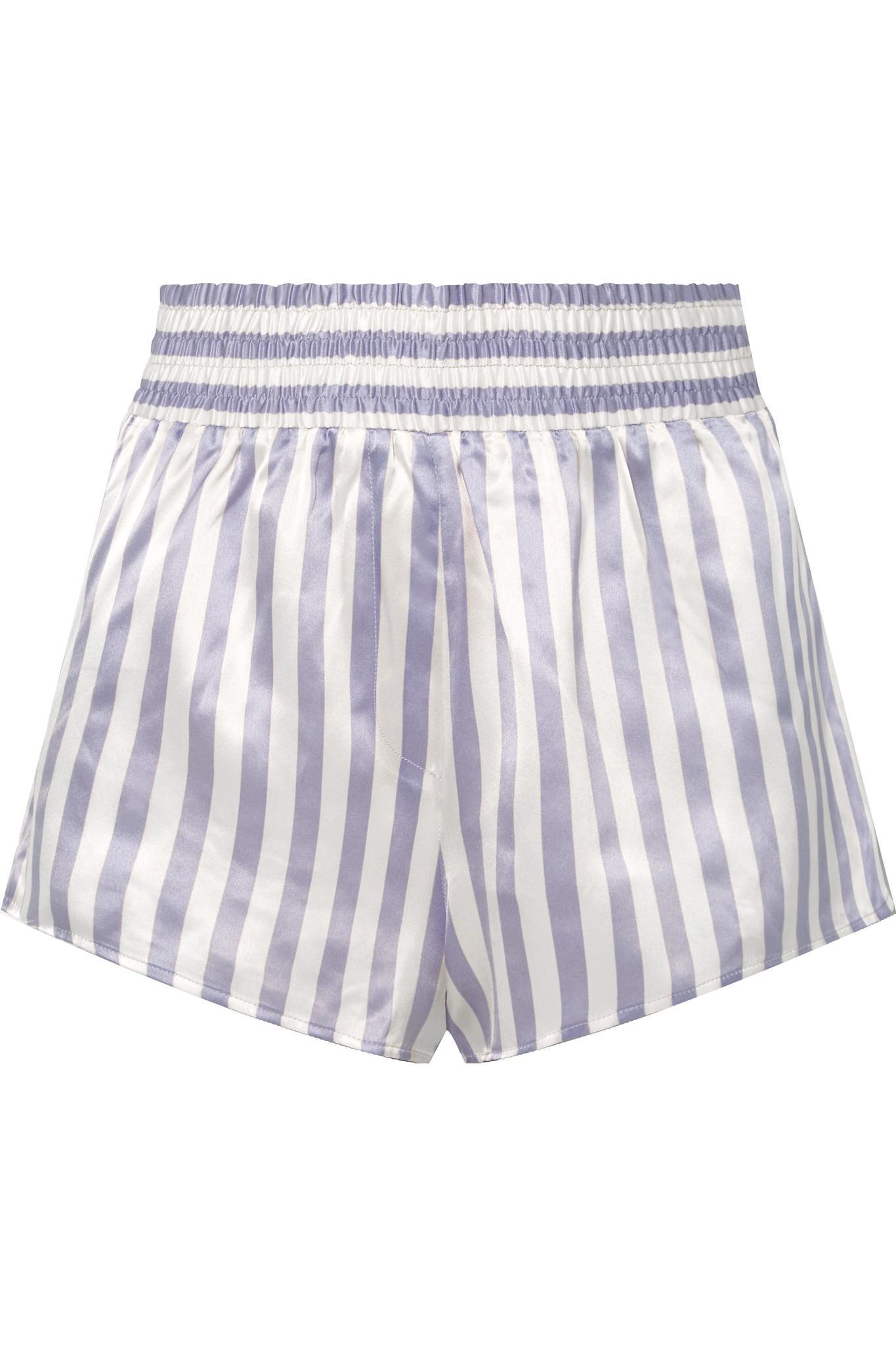 Morgan Lane. Women s Purple Amanda Fatherazi Corey Appliquéd Striped Silk-charmeuse  Pyjama Shorts 61b0dd1fe