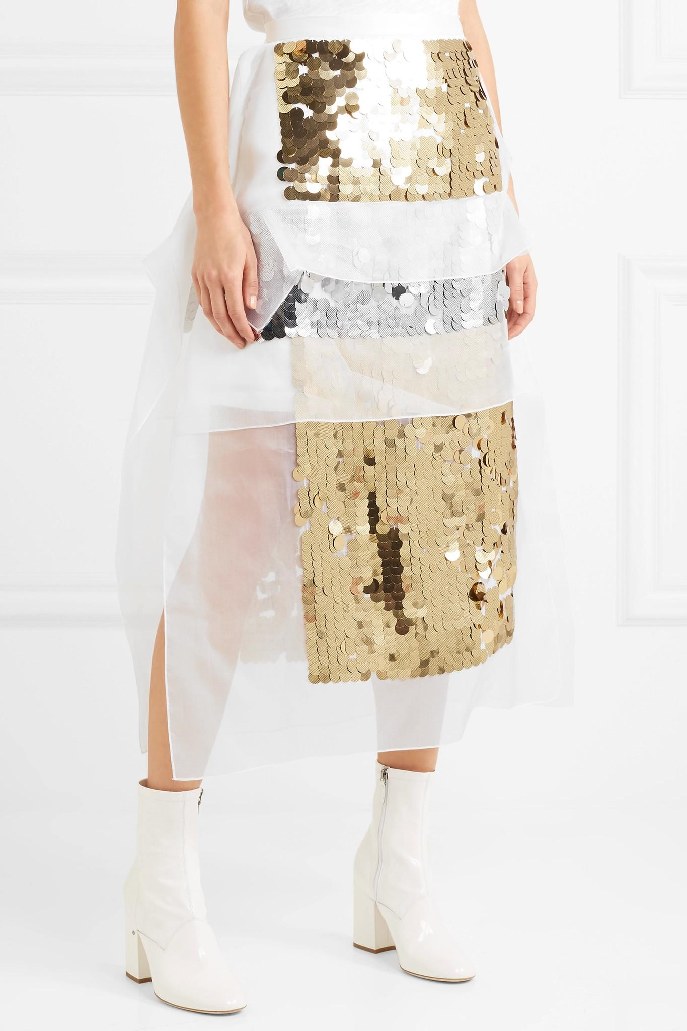 Sequined Organza And Hammered Silk-satin Midi Skirt - Gold Christopher Kane Sale Visit Huge Surprise For Sale Outlet Eastbay lYCJJ0m