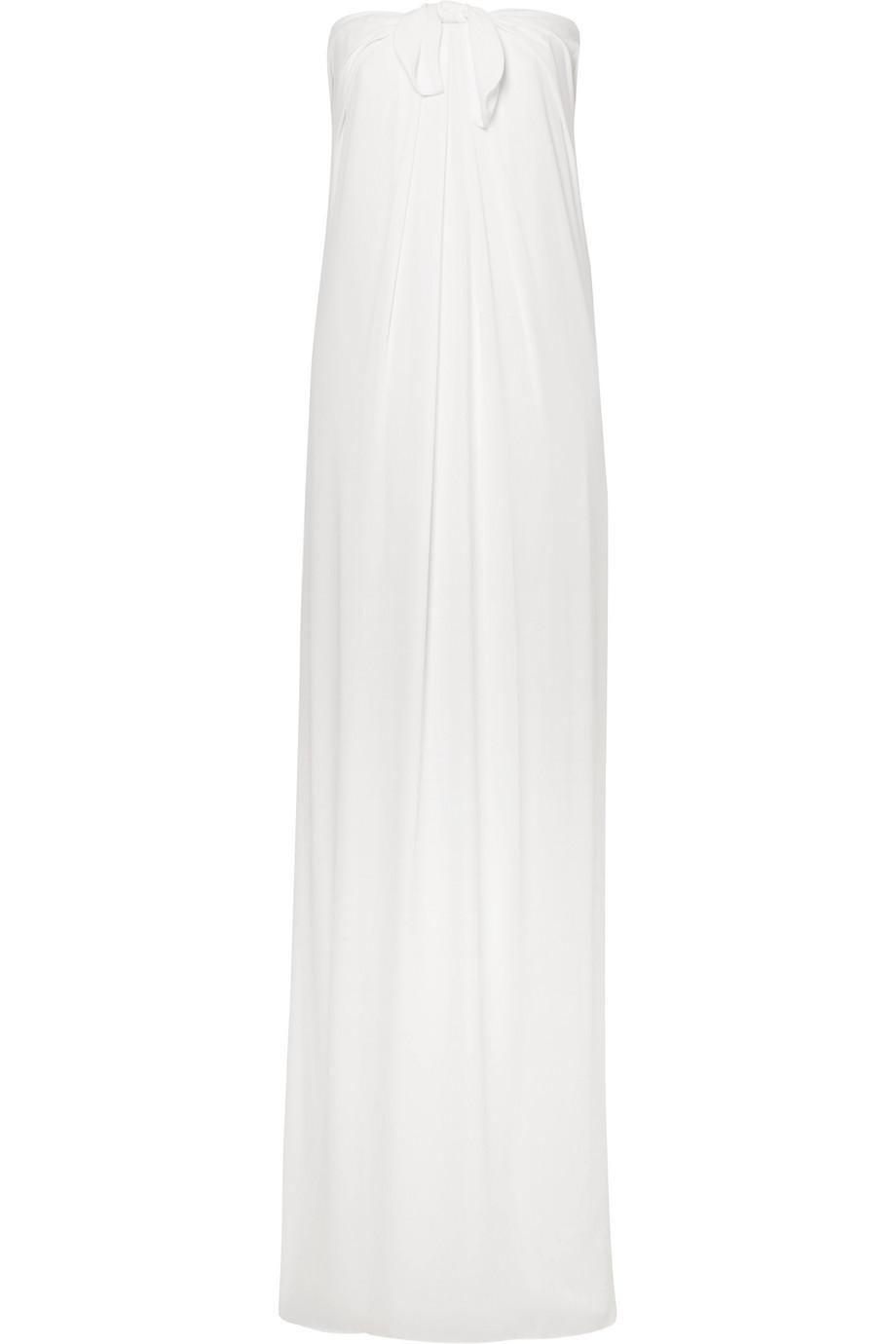 Tie-front Georgette Maxi Dress - White Halston Heritage