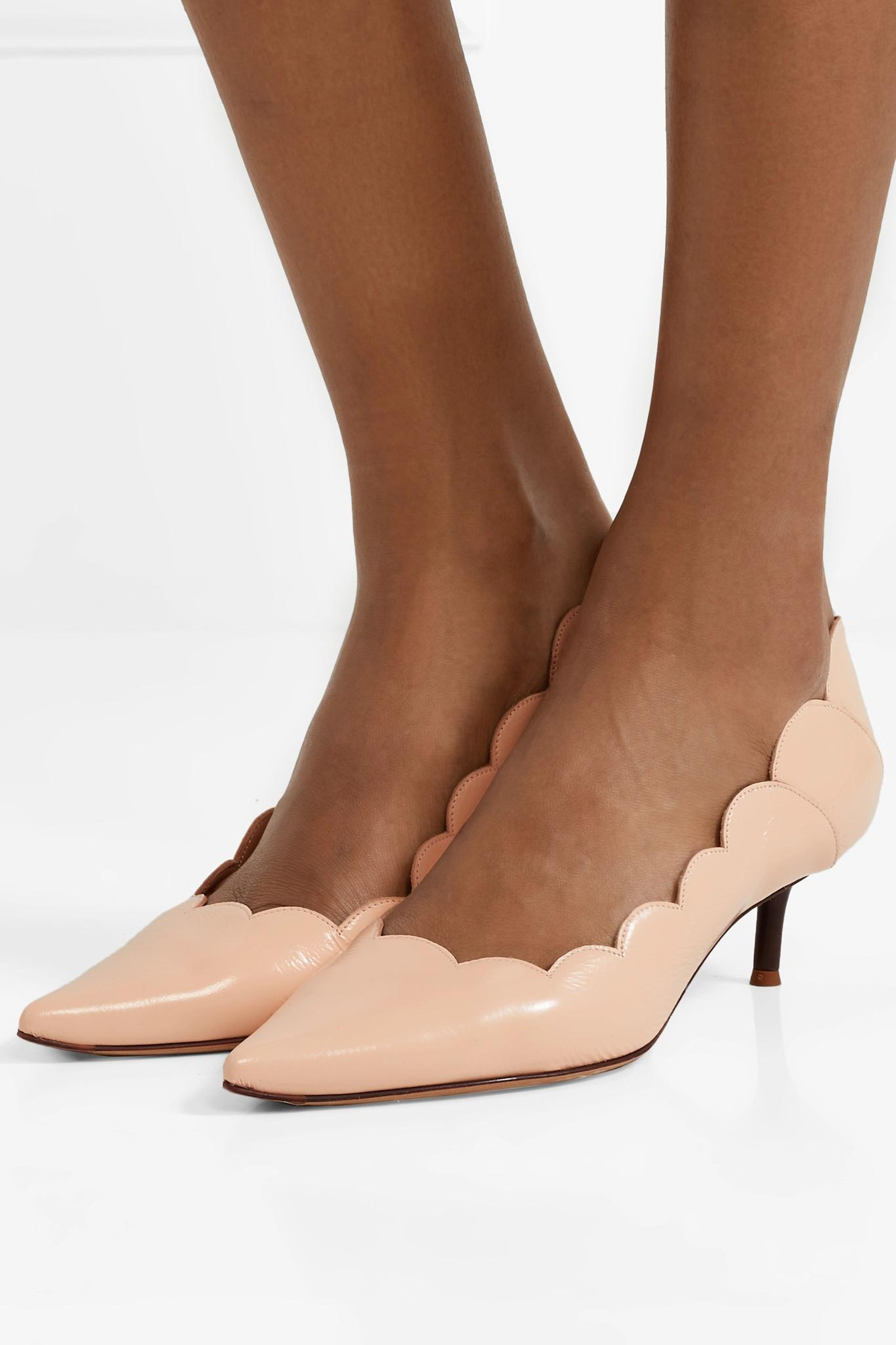 b98d55a95106 Chloé - Multicolor Lauren Scalloped Glossed-leather Pumps - Lyst. View  fullscreen