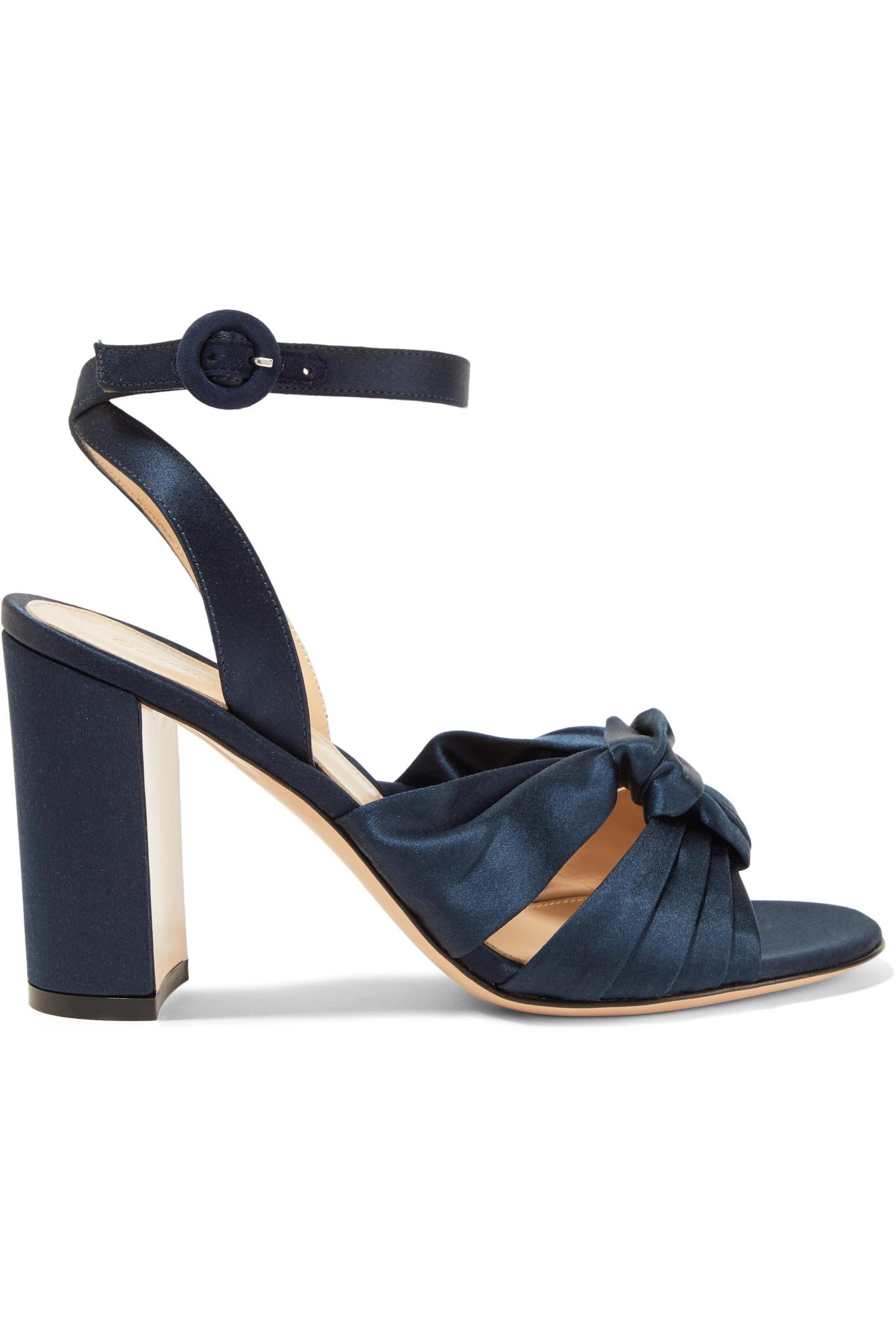Gianvito Rossi. Women's Blue Loren 85 Knotted Satin Sandals
