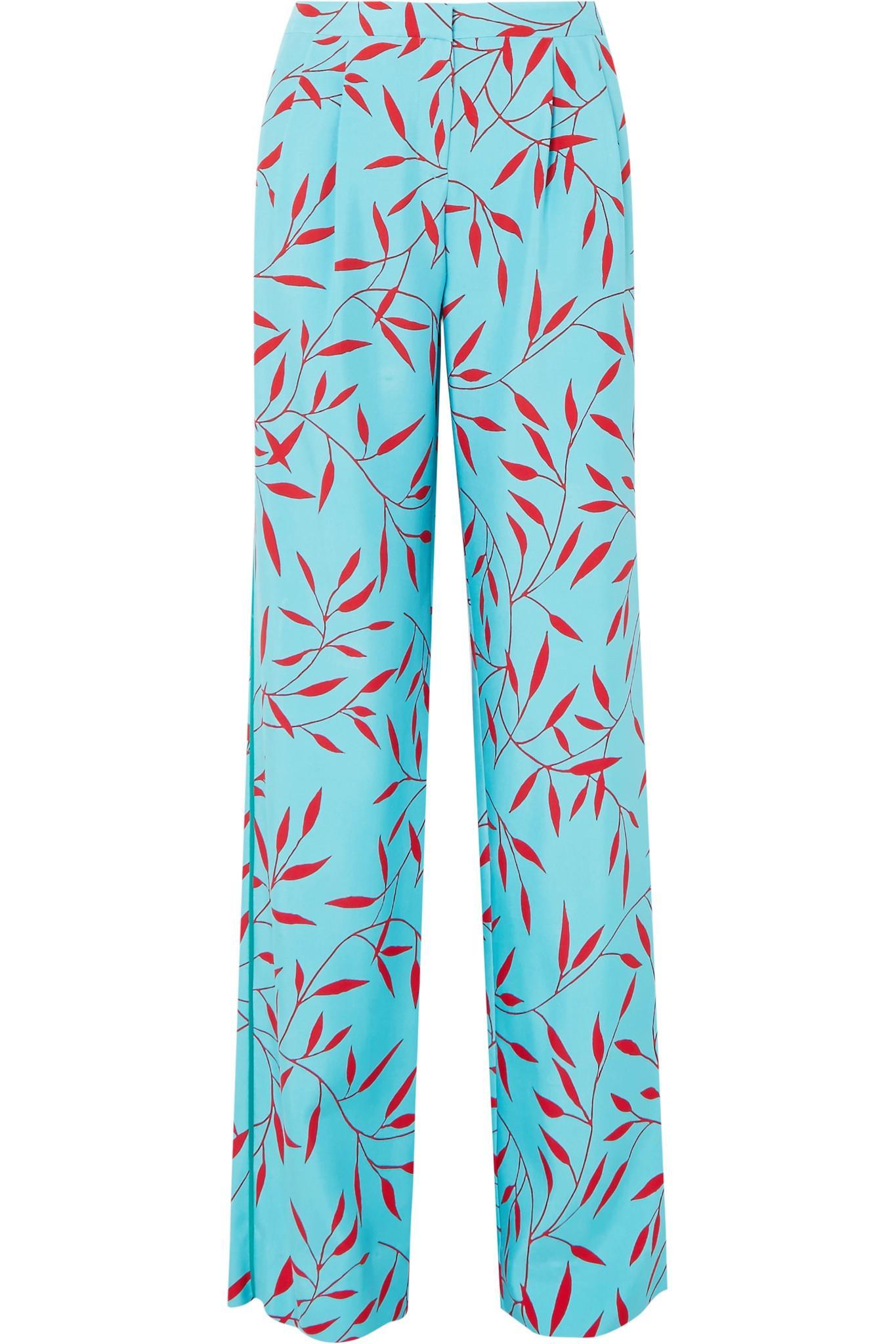 Crêpe De Soie Imprimé De Chine Pantalon Large Jambe - Sarcelle Von Frstenberg Diane 0Fohm5v