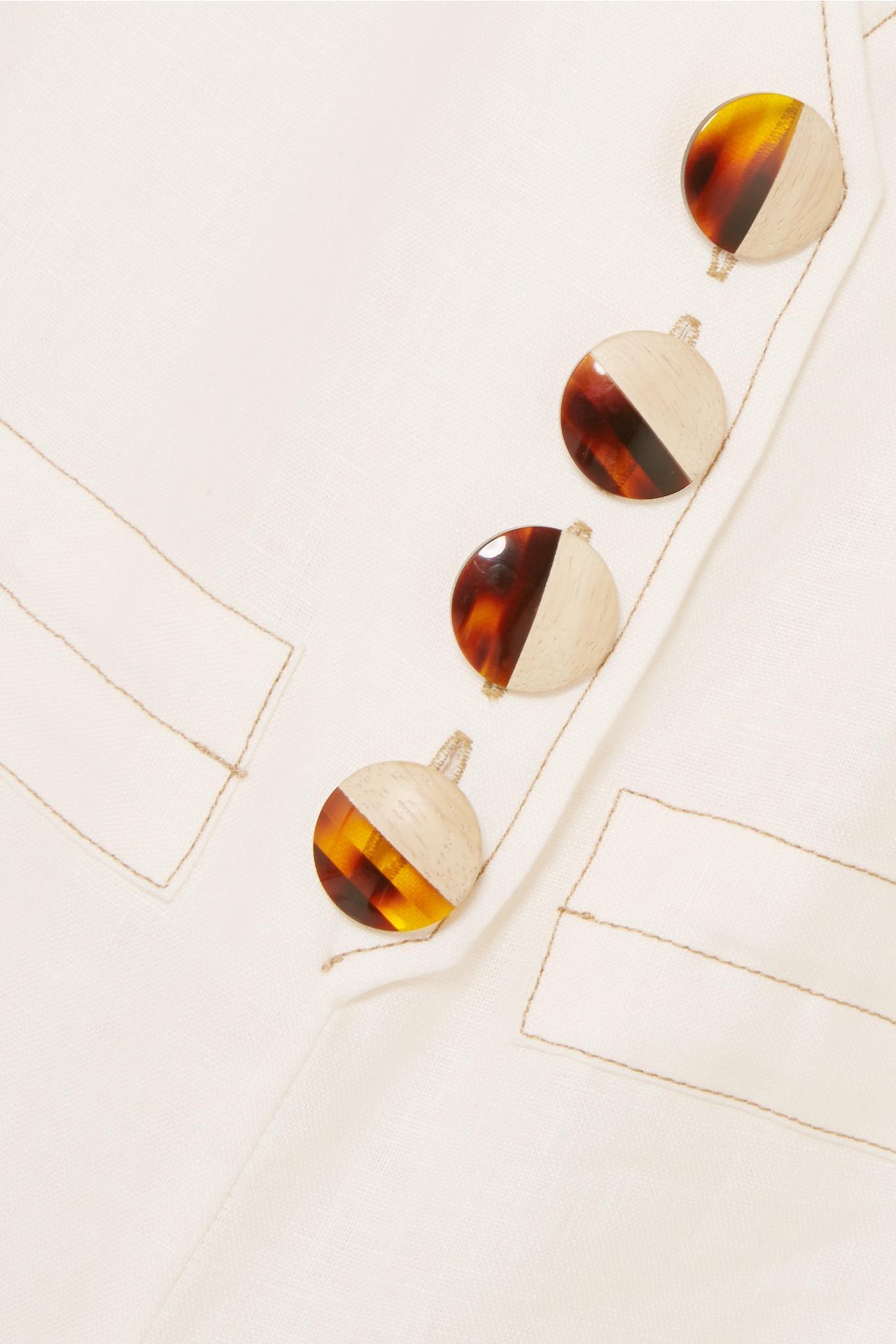 31f986b9db1d Nicholas - White Button-embellished Linen Jumpsuit - Lyst. View fullscreen
