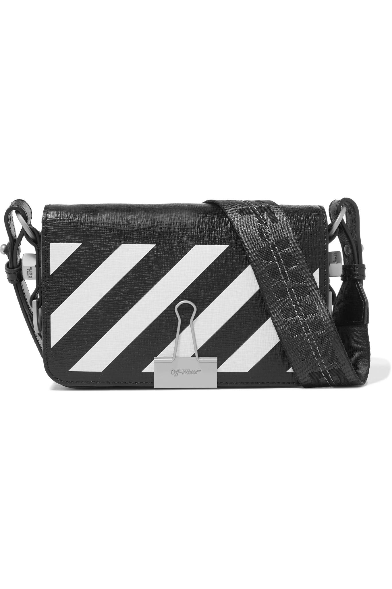 abb9fd365445 Off-White c o Virgil Abloh. Women s Black Mini Striped Textured-leather  Shoulder Bag