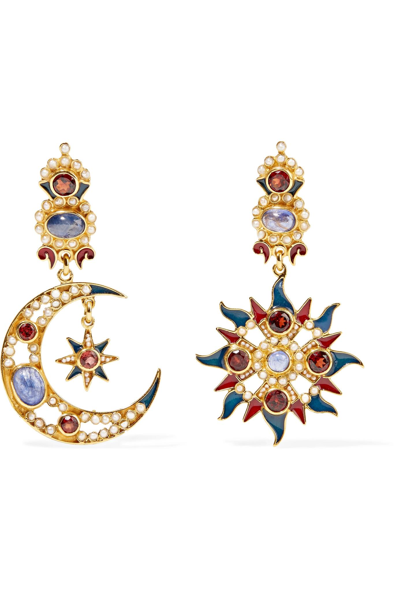 Percossi Papi Gold-plated And Enamel Multi-stone Hoop Earrings 1eS8aho1Q