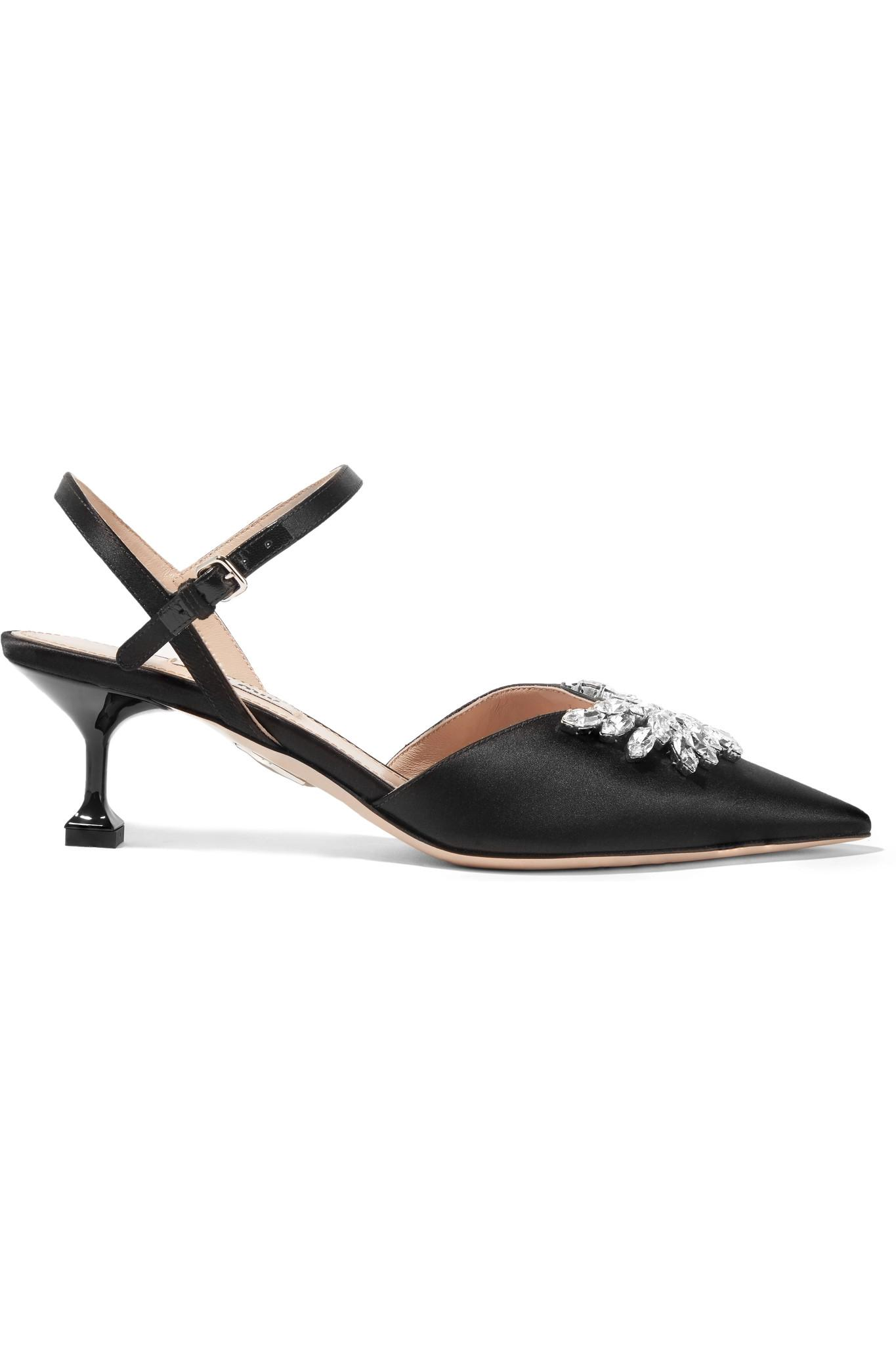 59bb7fe43a3e Lyst - Miu Miu Crystal-embellished Satin Slingback Pumps in Black