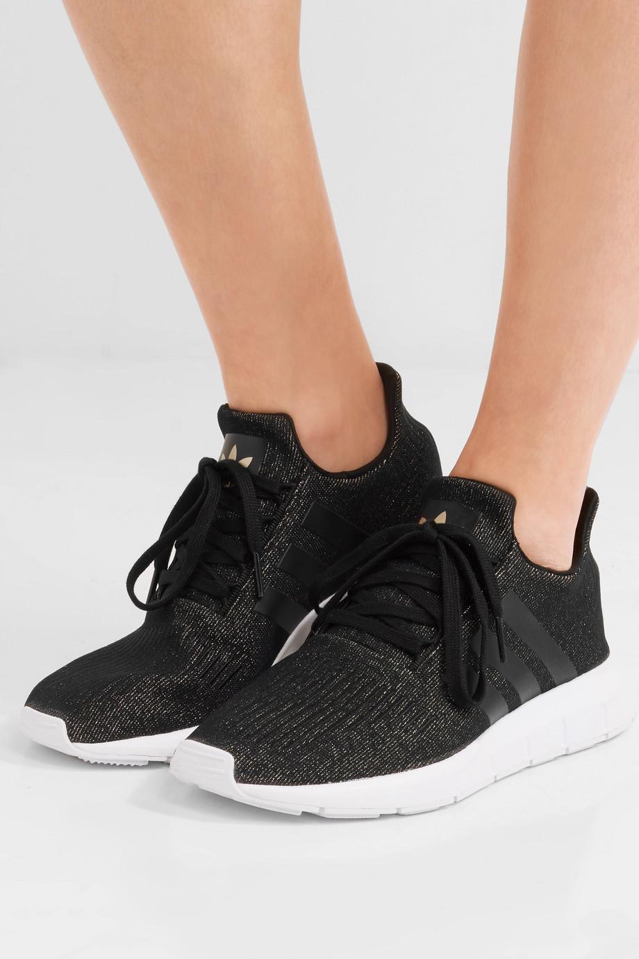 Swift Run Glittered Primeknit Sneakers - Black adidas Originals HYIEkfsxt