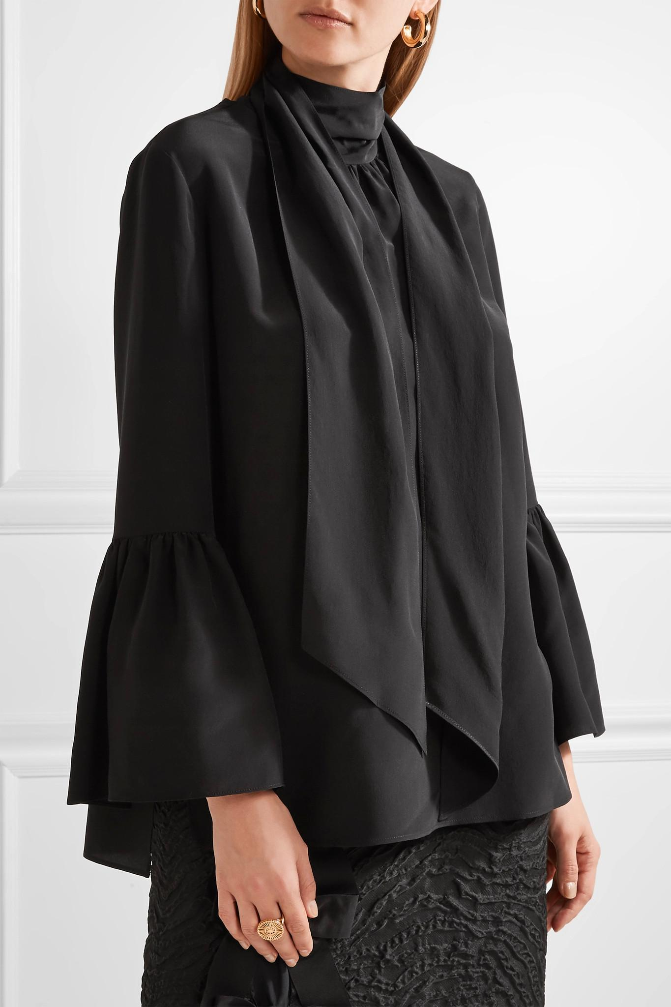 8f63dfda43443 Lyst - Fendi Pussy-bow Silk Crepe De Chine Blouse in Black