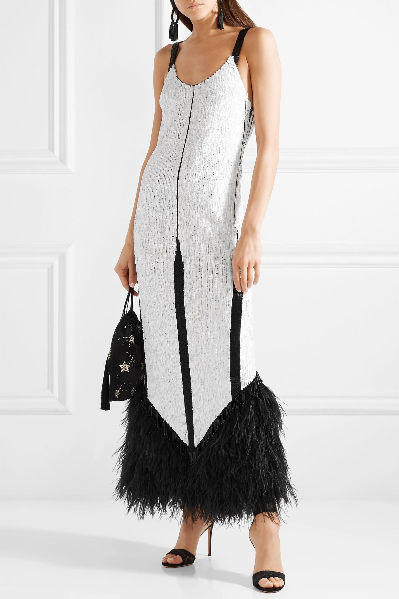 Feather-trimmed Sequined Tulle Gown - White Attico XEDe02TFi