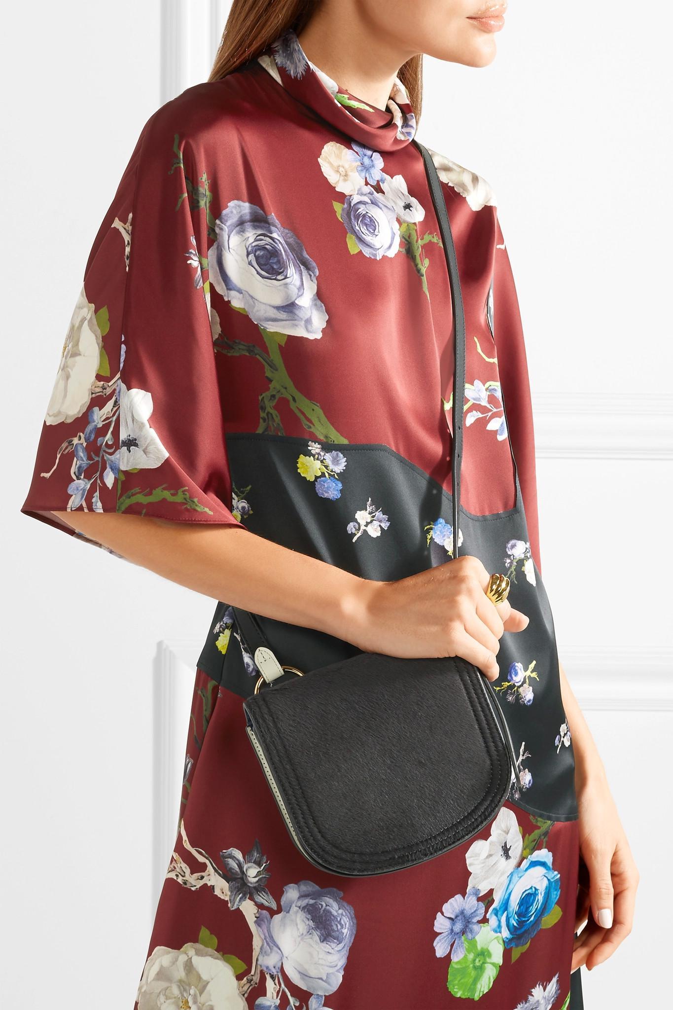 Saddle Mini Calf Hair And Leather Shoulder Bag - Navy Diane Von F JqzHWwyQ