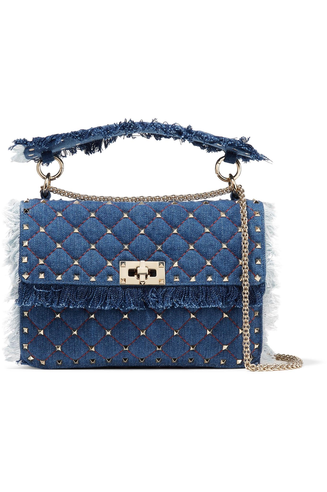 f478545f7581 Lyst - Valentino Garavani The Rockstud Spike Medium Quilted Denim ...