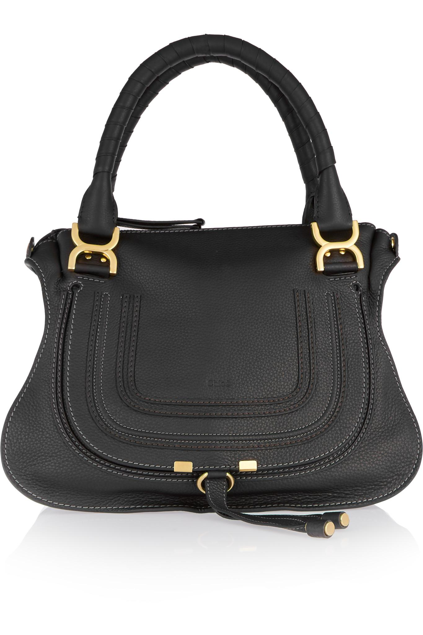 2aca00c2e06 Chloé Marcie Medium Textured-leather Shoulder Bag in Black - Save 49 ...